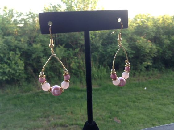 Golden and Pink Beaded Wire Hoop Earring by RomansJules on Etsy, $9.99