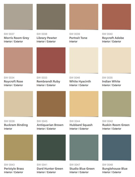 Sherwin williams historic color collection arts for Arts and crafts house colors
