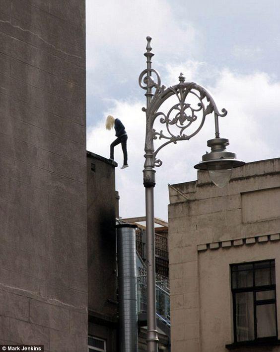 On the edge: A sculpture balances precariously on a Dublin rooftop