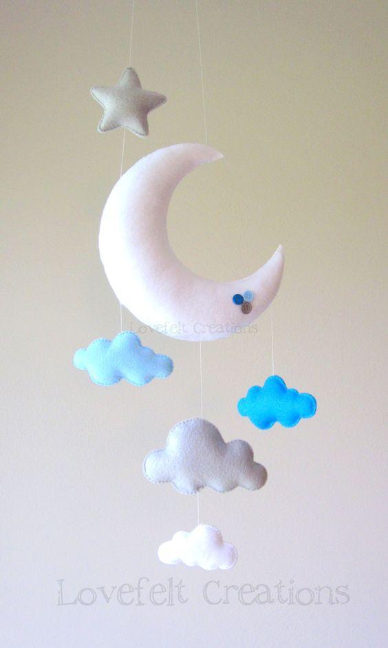 baby mobile moon mobile cloud mobile owl baby mobile stars babymobile inspiration und. Black Bedroom Furniture Sets. Home Design Ideas