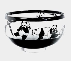 Panda Bowl  by Correia Art Glass. American Made. See the designer's work at the 2015 American Made Show, Washington DC. January 16-19, 2015. americanmadeshow.com #bowl, #glass, #americanmade, #pandas