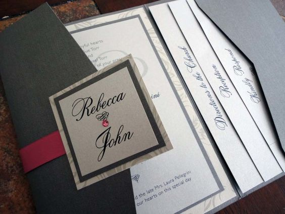 Pocket Wedding Invitations   Modern and Natural Touches