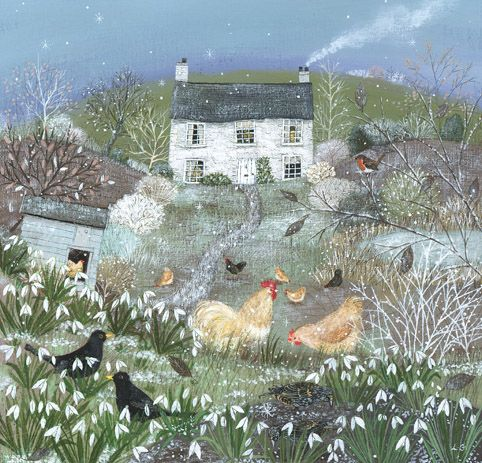 Lucy Grossmith (heart-to-art) - Chickens in a Winter Garden