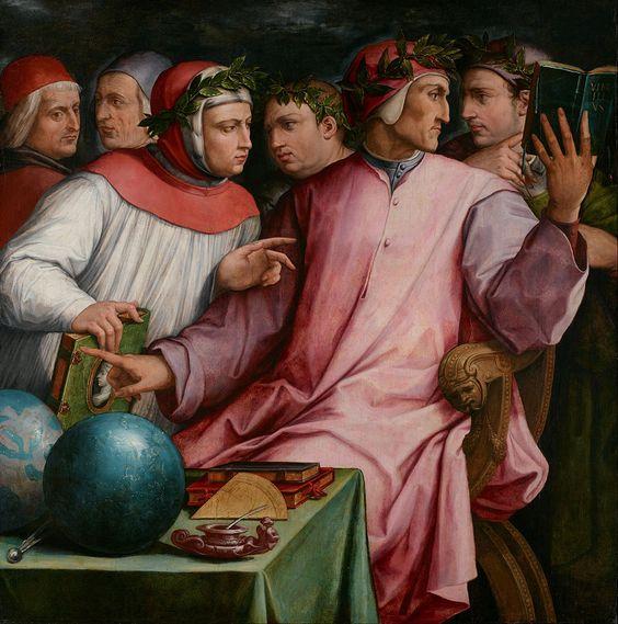 Georgio Vasari, groepsportret van zes vooraanstaande dichters en filosofen uit de 13e en 14e eeuw. Dante Alighieri, auteur van de Goddelijke Komedie en Guido Cavalcanti , dichter, Achter hen is de geleerde Francesco Petrarca en rechts van hem is Giovanni Boccaccio, auteur van de Decameron. De figuren uiterst links zijn letterkundige Marsilio Ficino en filosoof Cristoforo Landino.