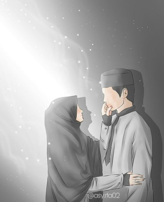 55 Gambar Kartun Pasangan Muslim Yang Romantis Gratis Terbaik