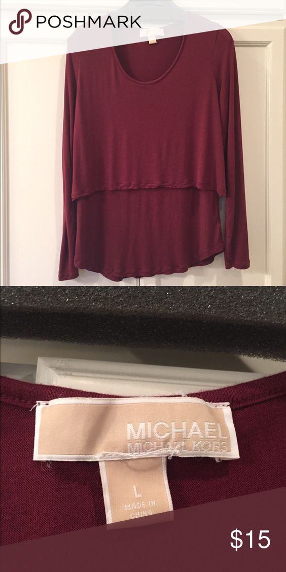 Michael Kors tiered long sleeve top EUC Gorgeous berry color is so hot for fall! I only wore this 1 time! Tag says Large but fits like a medium. Michael Kors Tops Tees - Long Sleeve