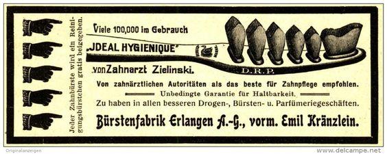 """Original-Werbung/ Anzeige 1908 - ZAHNBÜRSTE """"IDEAL HYGIENIQUE"""" ZAHNARZT ZILINSKI /BÜRSTENFABRIK ERLANGEN -ca.110 x 40 mm"""