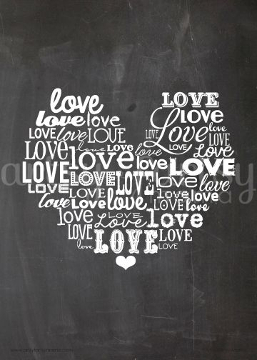 {Free Printable} Love Chalkboard Word Art - resize and use for Project Life