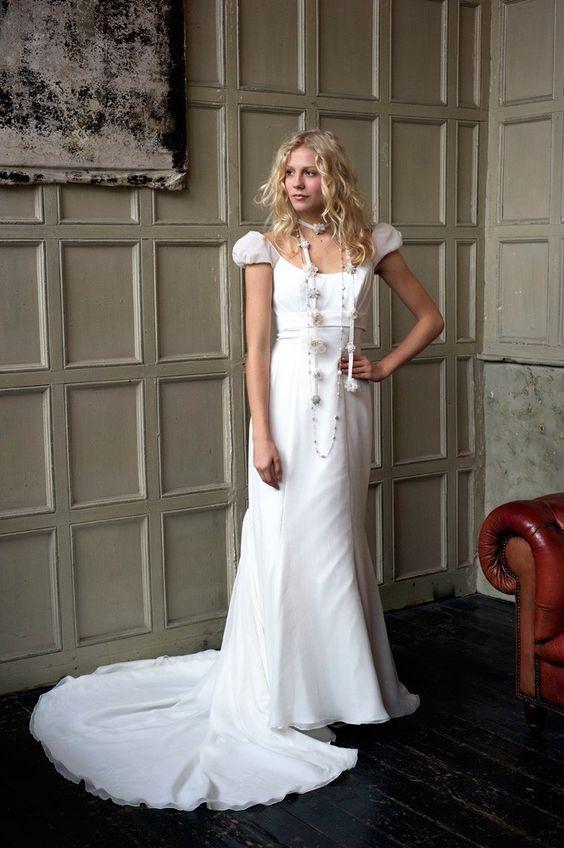 Simple Straps Sweep/brush Train Chiffon Wedding Dresses