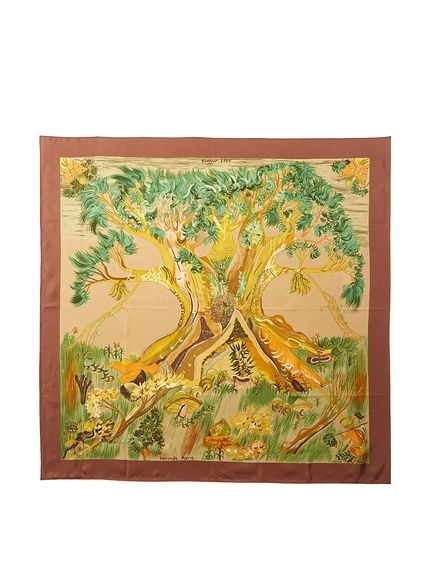 Hermès Women's Pre-Owned Tree Silk Scarf, Brown/Tan/Gold at MyHabit