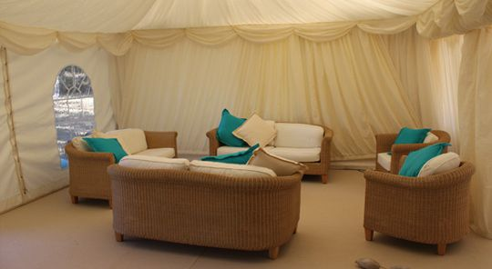 Lounge furniture & marquee linings for an ambient interior