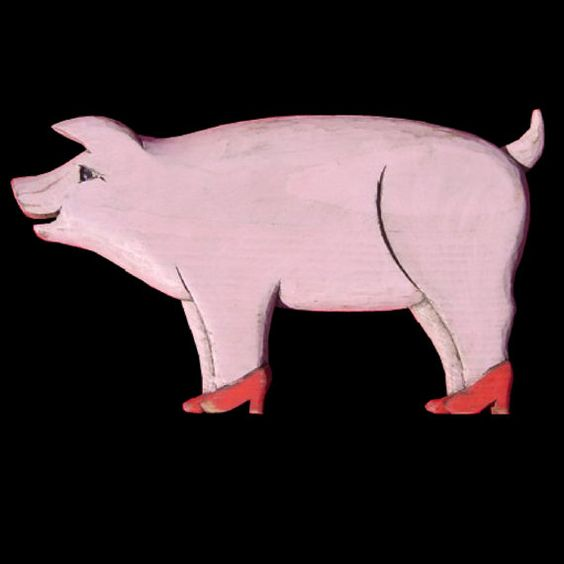 Wooden Folk Art Pig In Pumps