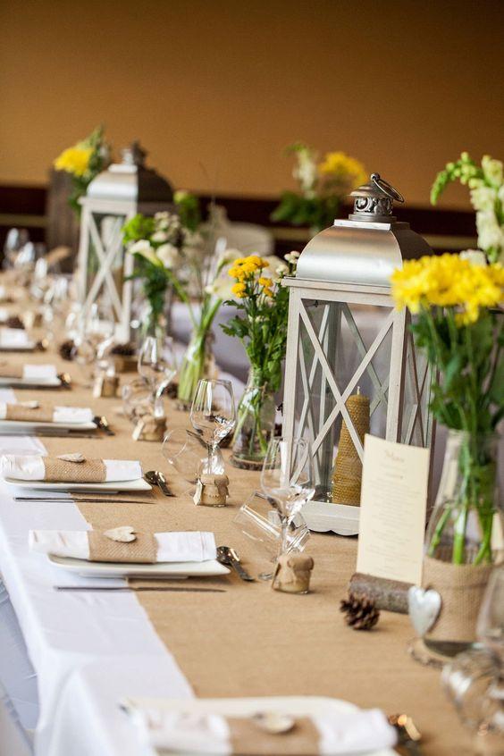 D co et fleurs by f elicit centre de table lanterne - Decoration de table de mariage champetre ...