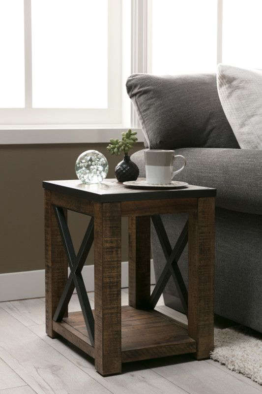 Tillman Side Table Solid Wood Warms Up To Sleek Metal Which Gives This End Table Both A R Living Room Design Decor Small Wood Coffee Table Small End Tables #wood #end #tables #for #living #room