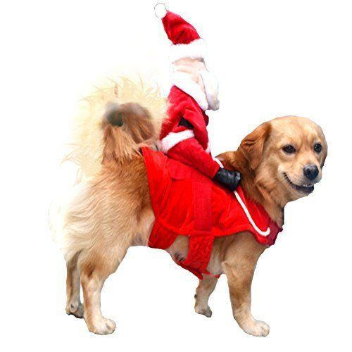 Nacoco Christmas Dog Costumes Santa Claus Riding On Dog Pet Cat Suit L Dog Costumes Christmas Dog Costume Christmas Dog