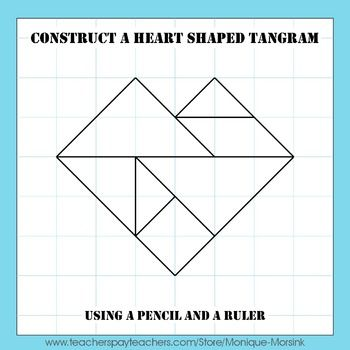 Valentine's Day Heart Tangram - This is a step by step drawing lesson on how to construct a heart shaped tangram and unique patterns.: