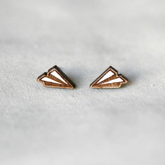 paper plane stud earrings by pannikin.