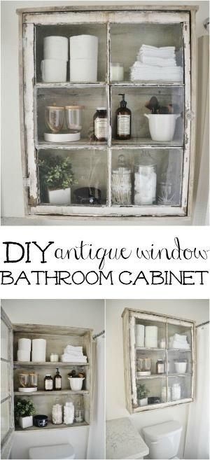 DIY antique window cabinet- See how to make this super easy antique window cabinet. Great for bathroom storage or any room in your home! by kris.grable.9