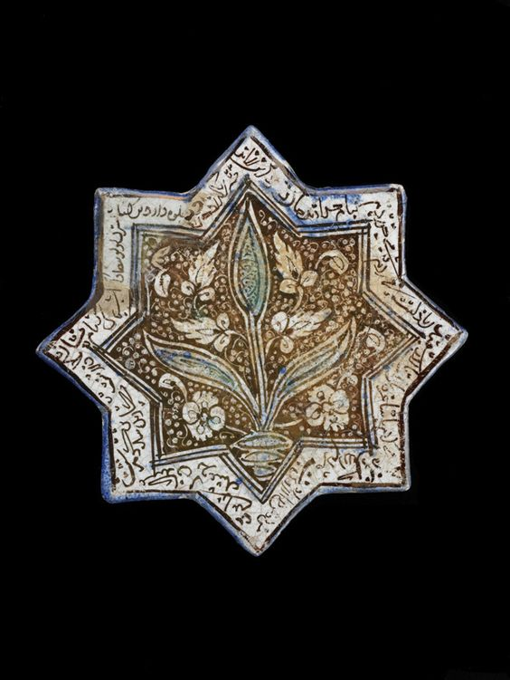 Eight-pointed Star Tile  early 14th century      Il-Khanid period    Stone-paste painted colorless glaze  H: 21.0 W: 21.3 cm  Iran
