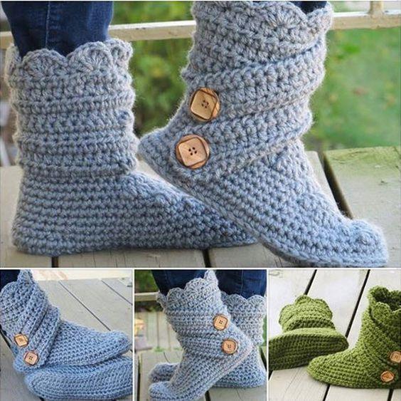 patron tricot pantoufle haute