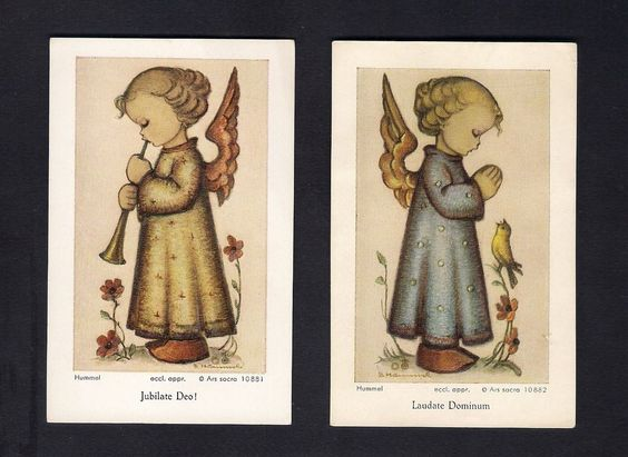 2 Hummel Holy Cards ** Guardian Angel ** Latin Script