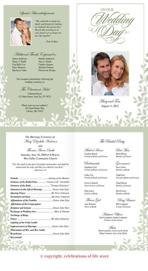 leaves wedding program template