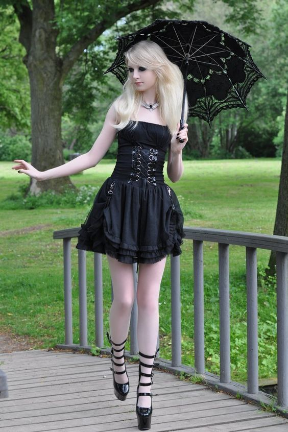 Gothic Doll Stock by *MariaAmanda black goth blonde dress umbrella