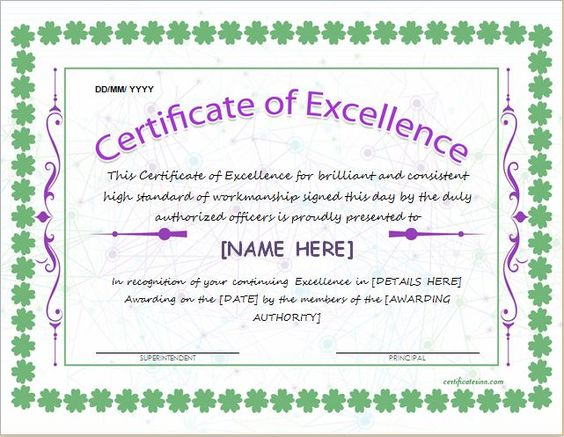 Certificate of Excellence Template for MS Word DOWNLOAD at http – Certificates of Excellence Templates