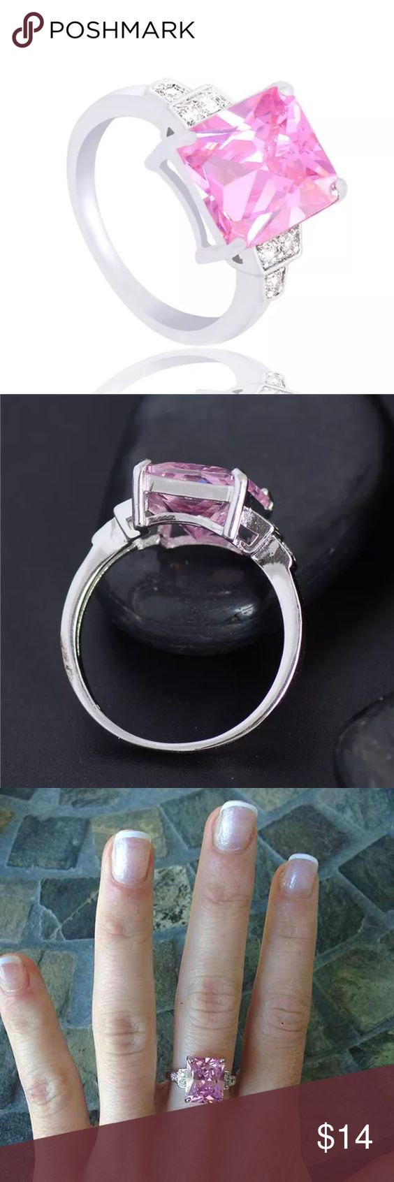 Pink Emerald Cut Silver Engagement Ring Huge Emerald cut pink center stone Silver plated  FIRM PRICE/NO TRADES❗️(cheaper on ♏️) Jewelry Rings