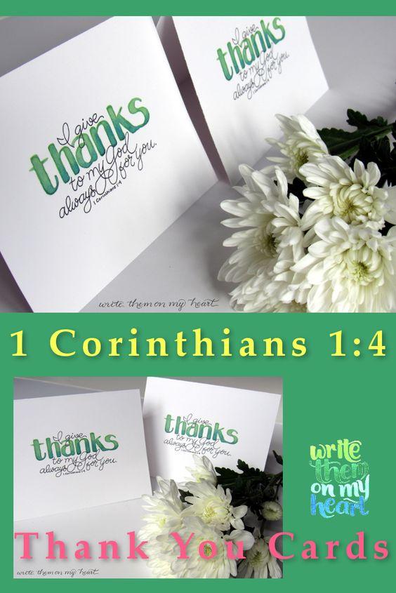1 Corinthians 1 4 Thank You Cards Printable Thank You Note Etsy Printable Thank You Notes Hand Lettering Cards Thank You Scripture