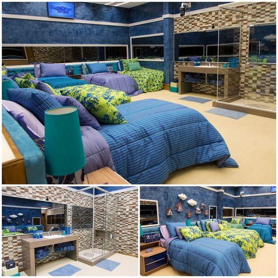 Um dos quartos na casa do Big Brother Brasil 15 tem tons frios e banheiro…