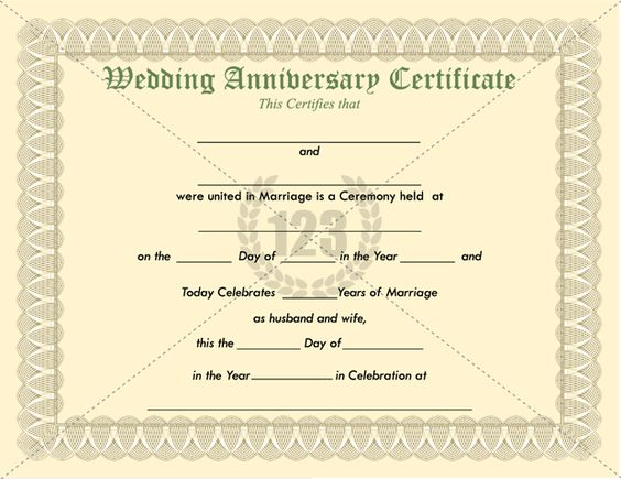 Wedding anniversary certificate template certificate for Wedding anniversary certificate template