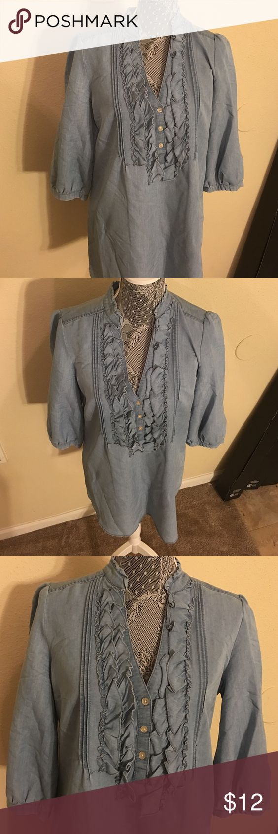 New York and Company denim blouse New York and Company denim ruffle front blouse New York & Company Tops