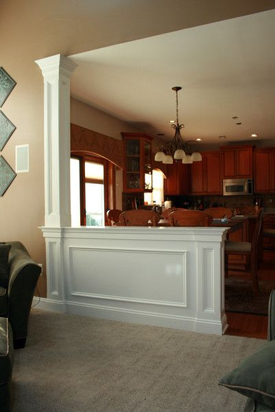 Half wall with column against wall condo pinterest for Half wall kitchen ideas