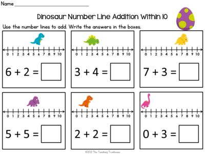 Dinosaur Number Line Addition & Subtraction Within 10 4 free pages ...