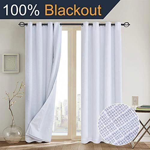 Primitive Linen Look 100 Blackout Curtains With Liner White