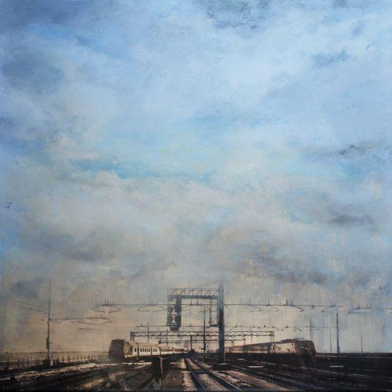 "tibo streicher - ""arrivo a venezia"" #tibostreicher #samagra #paysage #venezia #huile #artcontemporain #art #contemporaryart #railway #tracks"
