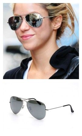 ray ban aviator silver mirror sunglasses  shakira wearing ray ban aviators sunglasses ; the style is aviators with silver mirrored lenses