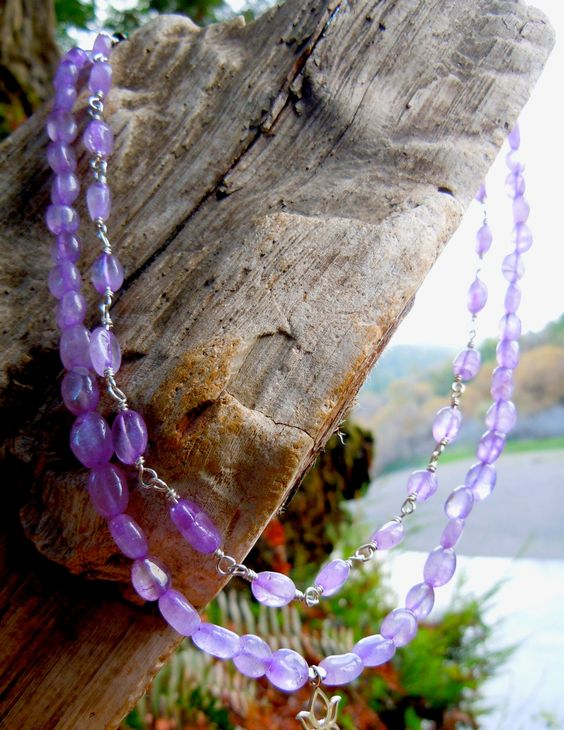 Tiered Amethyst and Lotus Charm Necklace