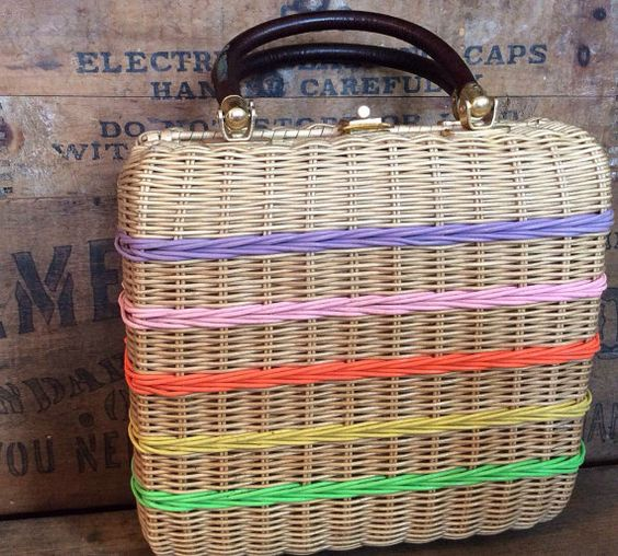 Vintage Antique Estate Pastel Stripe Wicker Woven by MADVintology, $20.00