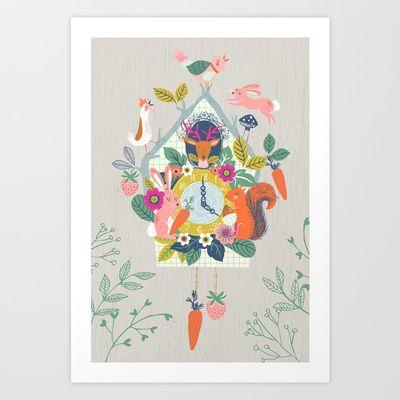 Cuckoo Art Print by Drawnbyrebeccajones - $17.00