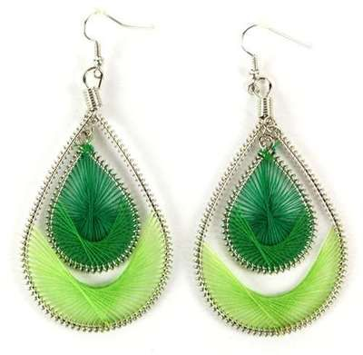 """Handwoven Dangle Earrings Green Crafted Thread Jewelry Accessory Gift New 2"""""""