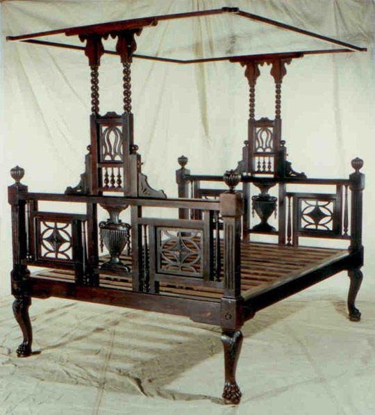 British Colonial Mahogany 4-post Bed, c. early 1900's