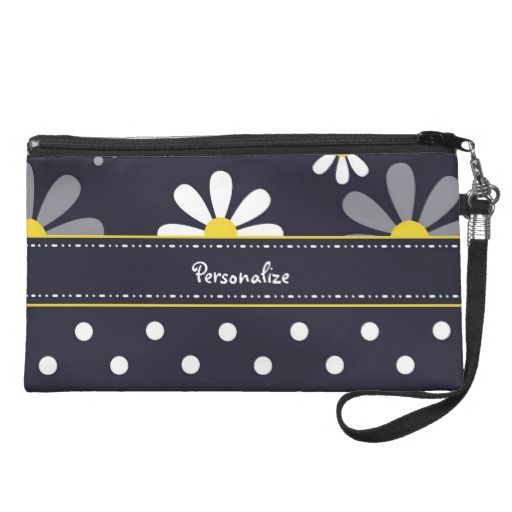 Girly Mod Daisies and Polka Dots With Name Wristlets $49.95 #ohsogirly #fashionaccessories #giftsforher #bags