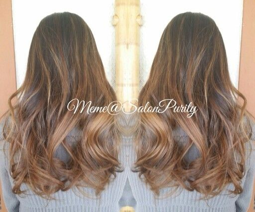 Caramel beige brown balayage ombre