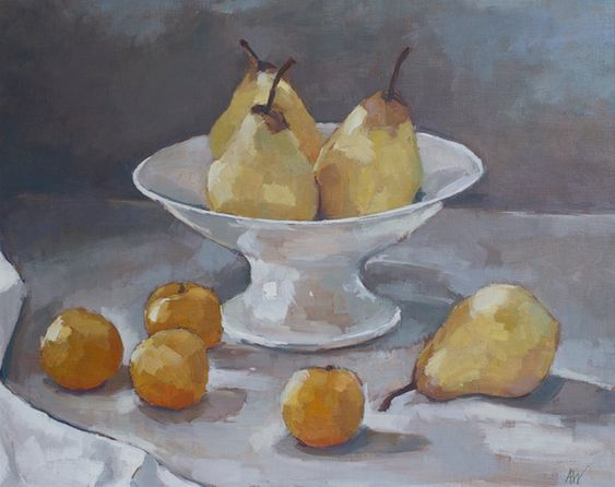 Annie Waring. Pears and Golden Plums