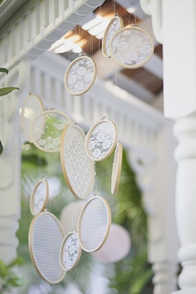 Lace sun-catchers and other lace decorations for wedding. #wedding #lacedecorations: