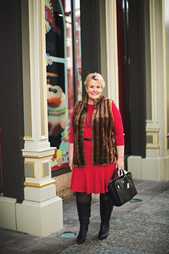 Plus holiday dress vest