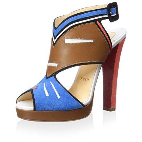 Christian Louboutin Women's Azuniraco Sandal, Blue, 37 M EU/7 M US