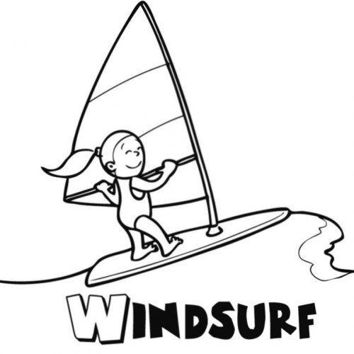 Dibujo Para Imprimir Y Pintar De Windsurf Imagenes De Dibujos Infantiles Dibujo Del Mar Dibujos Para Colorear